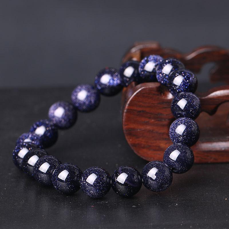 Blauer Kies Sand Stretch Armband Armreif Mode 6 8 10 12mm Naturstein Elastische Linie Perlen Armband Buddha Edelstein Armbänder
