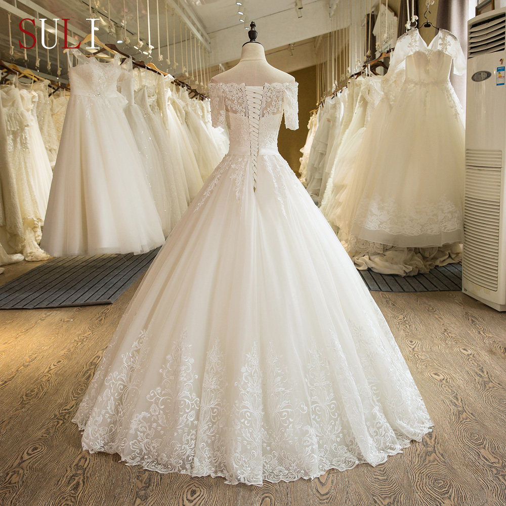 Pageant Lace Short Sleeve Ball Gown Wedding Dresses with Train Elegant Bride Custom Bridal Gown Special Occasion Bridesmaid Party 17wed596