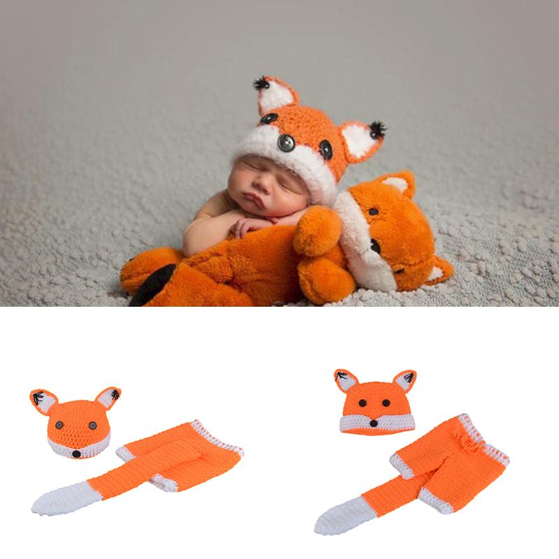 Baby Fotografie Requisiten Fox Design Infant Baby Unisex Häkeln Tier Kostüm Foto Requisiten Gestrickte Jungen Mädchen Tier Outfits