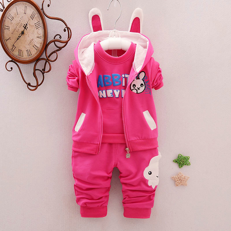 Toddler Kids Baby Girls Outfits Cute Rabbit Coat+T-shirt+Pants Toddler Set Kids Clothes Childrens Clothing