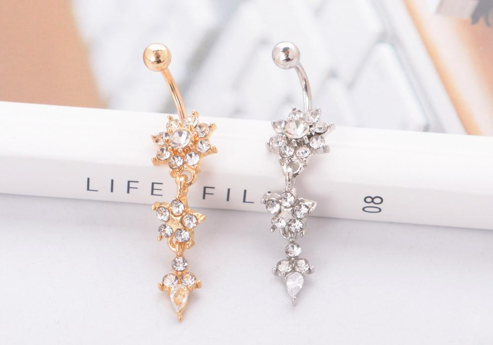New Gold Zircon Crystal Navel Ring Sexy Fashion Women Girls Body Jewelry Piercing Belly Button Rings