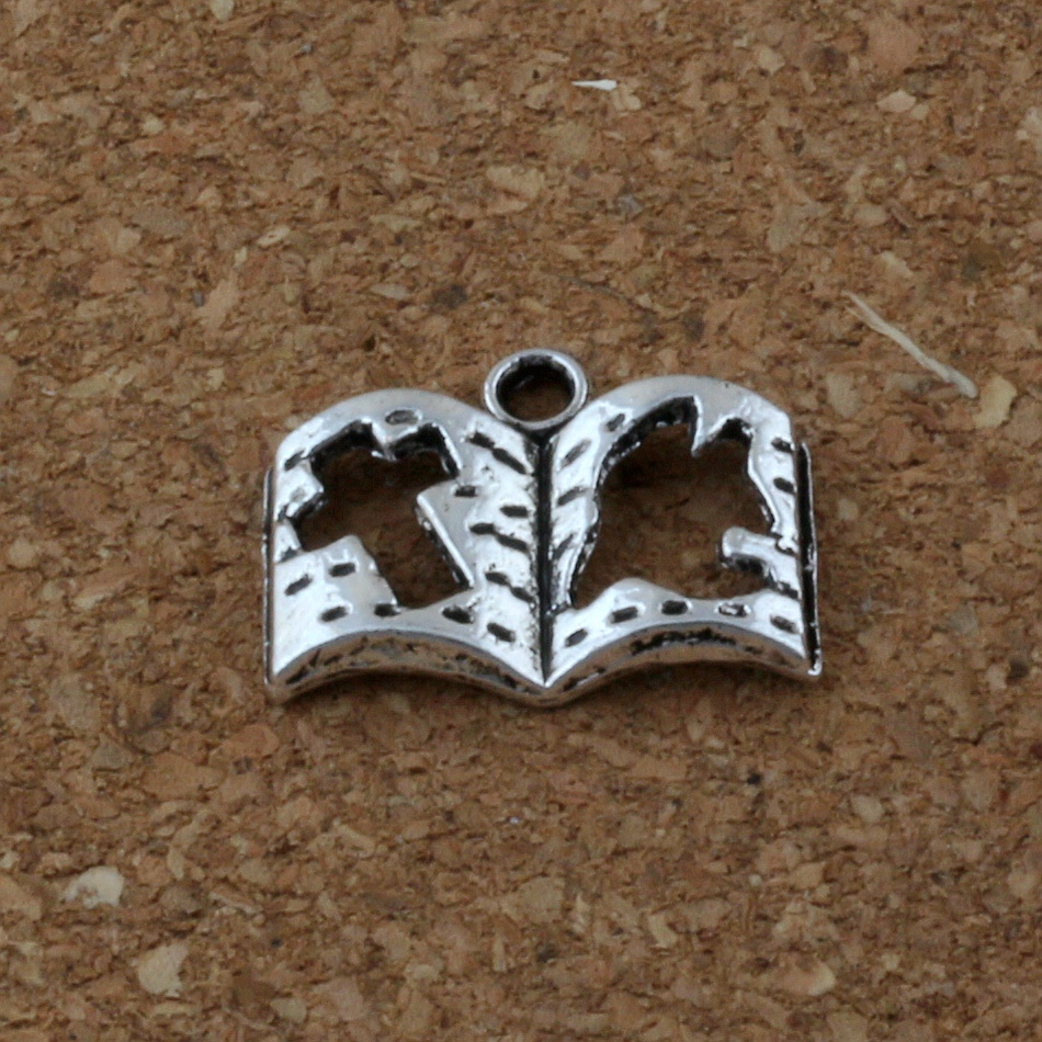 Book spell witchcraft Tibetan Silver Bead charms Pendants 23*18mm 5pcs