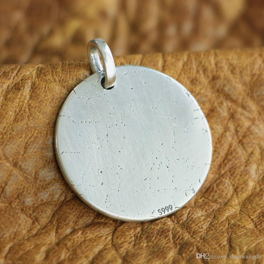 LINSION 999 argento sterling con laser dettagli alti Cranio Mens Biker Pendant 9X305 JP