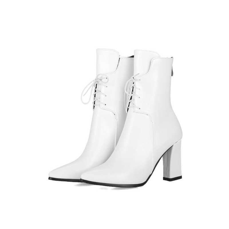 Brand Designers 2018 New Winter Women Shoes Black High Heels Riding Boots Lacing Platform Ankle Boots Chunky Heel Big Size 32-43 (17)