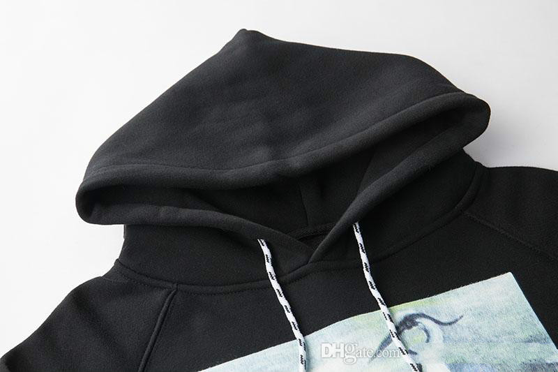 Crane Print Sweatshirts Men Women Hip Hop Heron Preston Hoodies Pullovers Streetwear Black Heron Preston Sweatshirts 2018