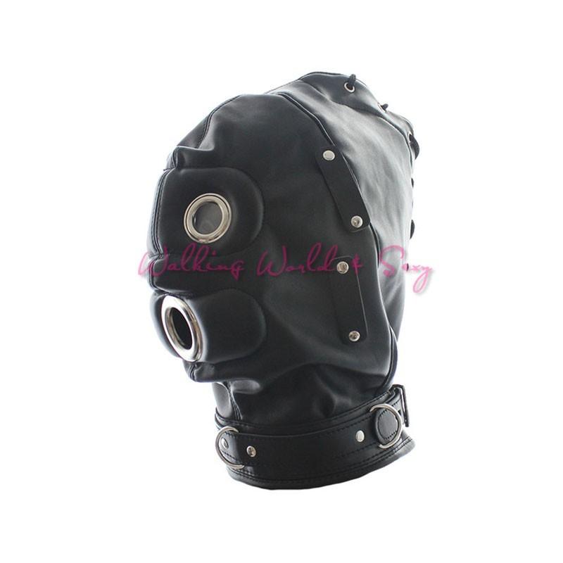 Soft Pu Leather Mask Bondage Hood With Adjustable Dildo Gag Blindfold Fetish Cosplay Slave Mask Adult Game Sex Toys For Couples (13)