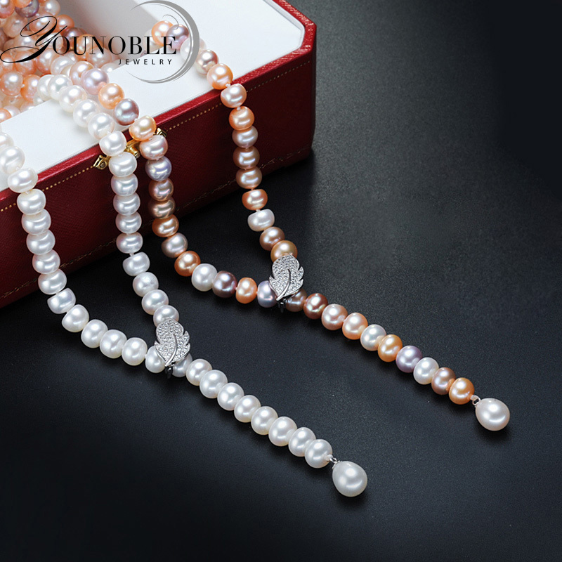 Freshwater tassel long pearl necklace women,real natural bridal pearl necklace body multi layer color for girls best friend Y18102910