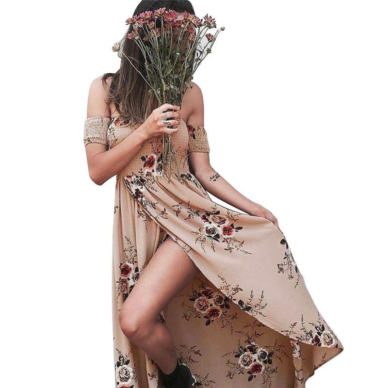 Femme Manches Bouffantes Mousseline de Soie Boho Bohème Robe Maxi Longue Plage