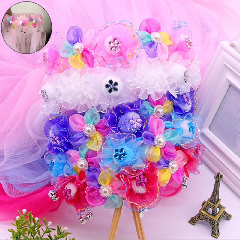 2018 New Beads Flor Headband Crianças Princesa Flores Menina Longo Véu Hairband Headwear Halloween Party Favor Presente