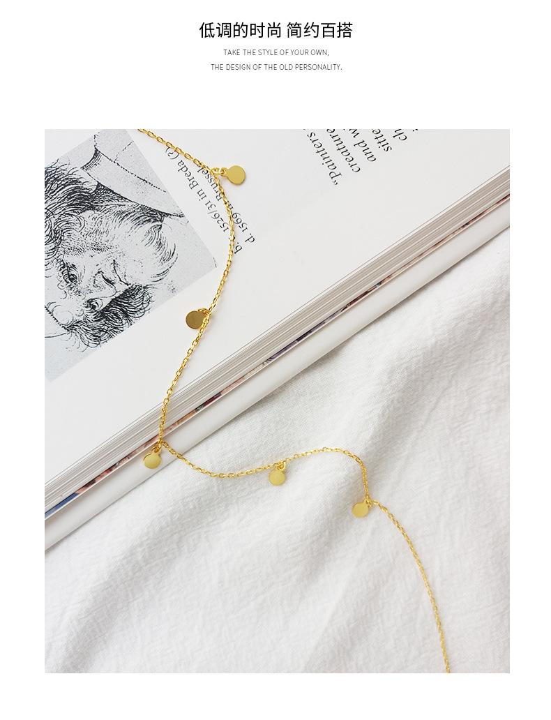 ABC Silver 925 Simple Sweet Round Plated Gold Pendant Necklace Harajuku Kolye Collier Costume Jewelry Women's Wicca Choker Keychain Joyas