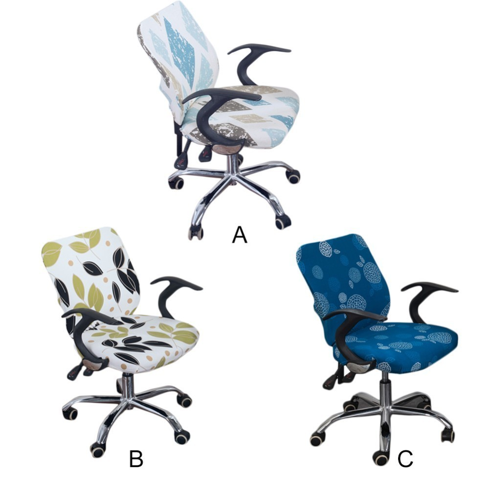 Office Chair Covers Stretch Cotton Fabric Computer Chair Slipcover Flower Printed Removable Rotating Chair Covers