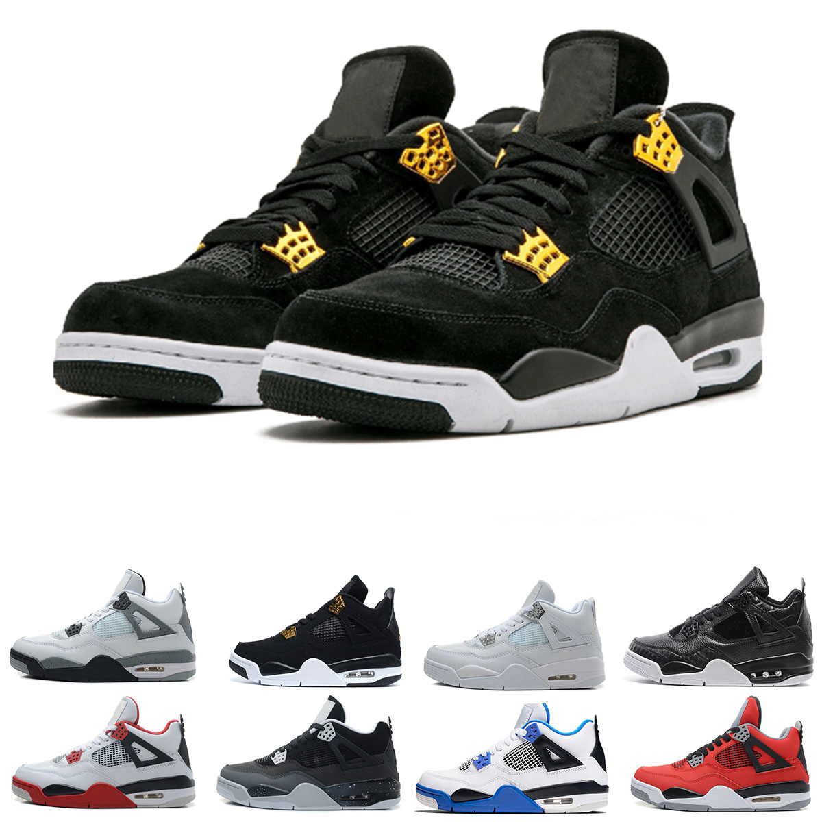 Drop shipping 4 Cactus Jack Basketball Shoes for men Pure Money Royalty White Cement Raptors Bred Military Blue mens Sport Sneakers trainer