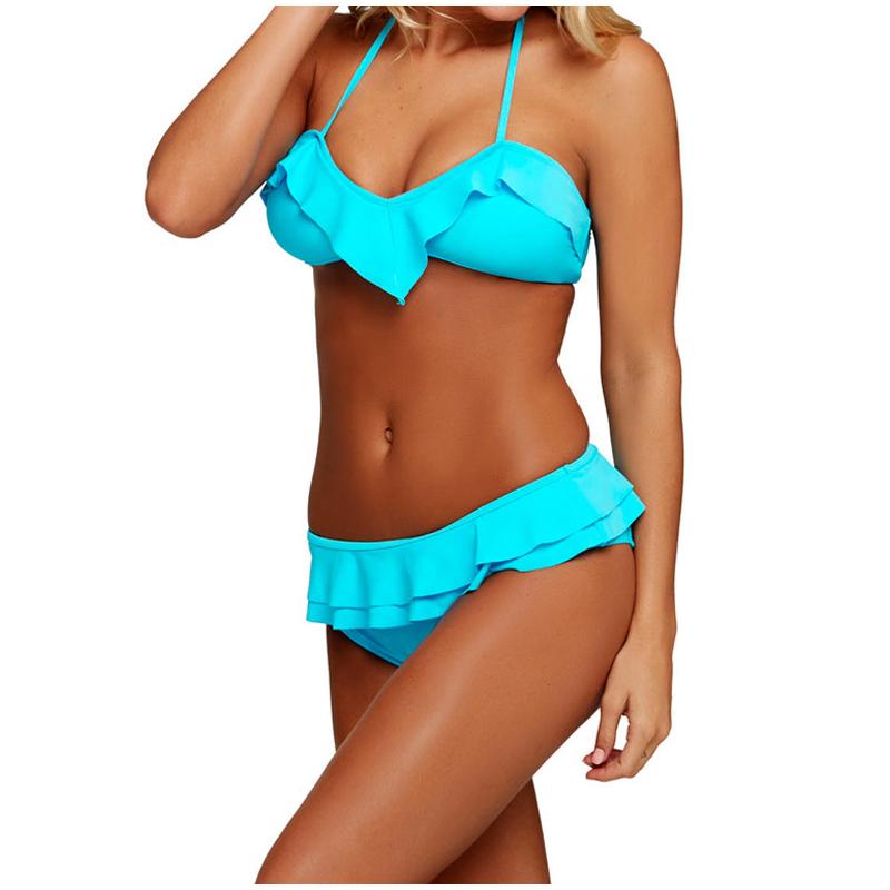 Blue Ruffled Wrap Triangle Bikinis Set Summer Beachwear Halter Lace Up Swimsuit 2017 Female Swimwear For Women Bathing Suits XXL_1