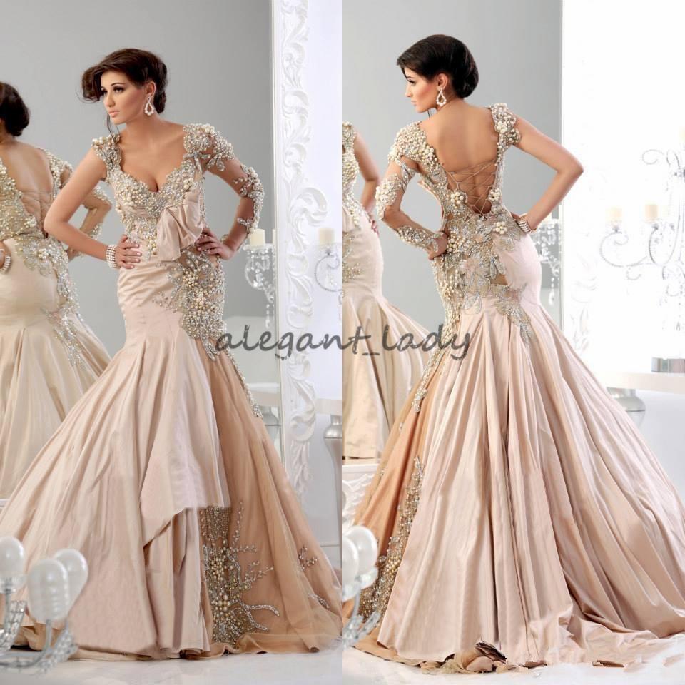 Champagne Mermaid Prom Abendkleider mit Langarm 20 Luxus Kristall Perle  Dubai Arabisch Indisch Kaftan Plus Size Abendkleid