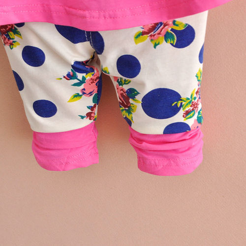 New baby Girls clothes tops+pants Set Outfits spring suit clothes flower kids Summer Girls Clothing 1-4Years