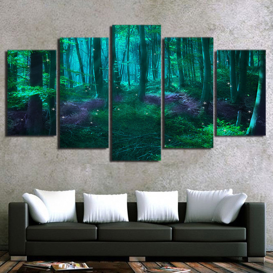 Canvas-Poster-Home-Decor-5-Pieces-Green-Tree-Abstract-Fairy-Tale-Forest-Paintings-Modular-HD-Prints.jpg_640x640