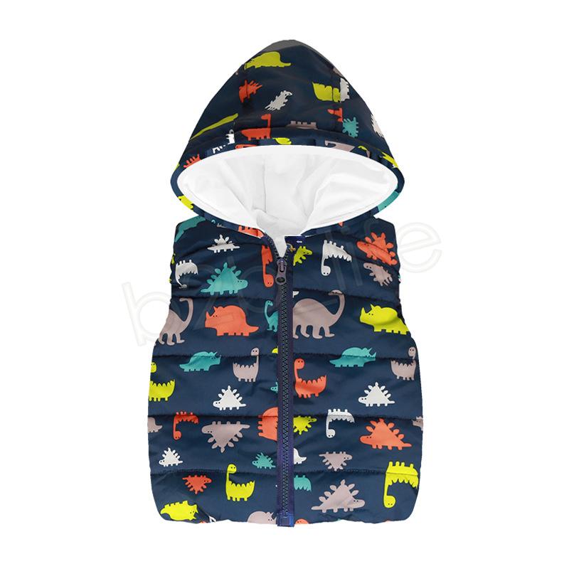 Ins kids Vestes Gilet Hoodies Épaisseur Bande Dessinée Animal Fleur Dinosaure Imprimé Manteau Manteau 19 Designs Gilet Vêtements Chauds GGA1168