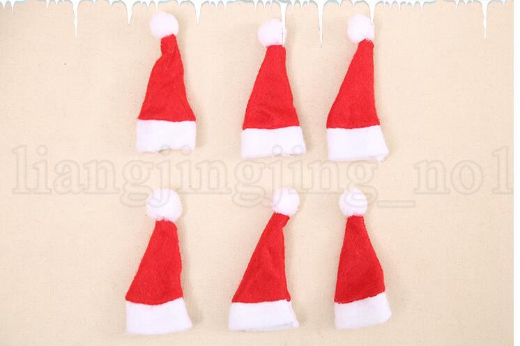 Mini Noël Père Noël Chapeau Chapeau Lollipop Mariage Bonbons Cadeau Casquettes De Noël Arbre Décor W4 * H7cm Décor De Noël Décor KKA6021