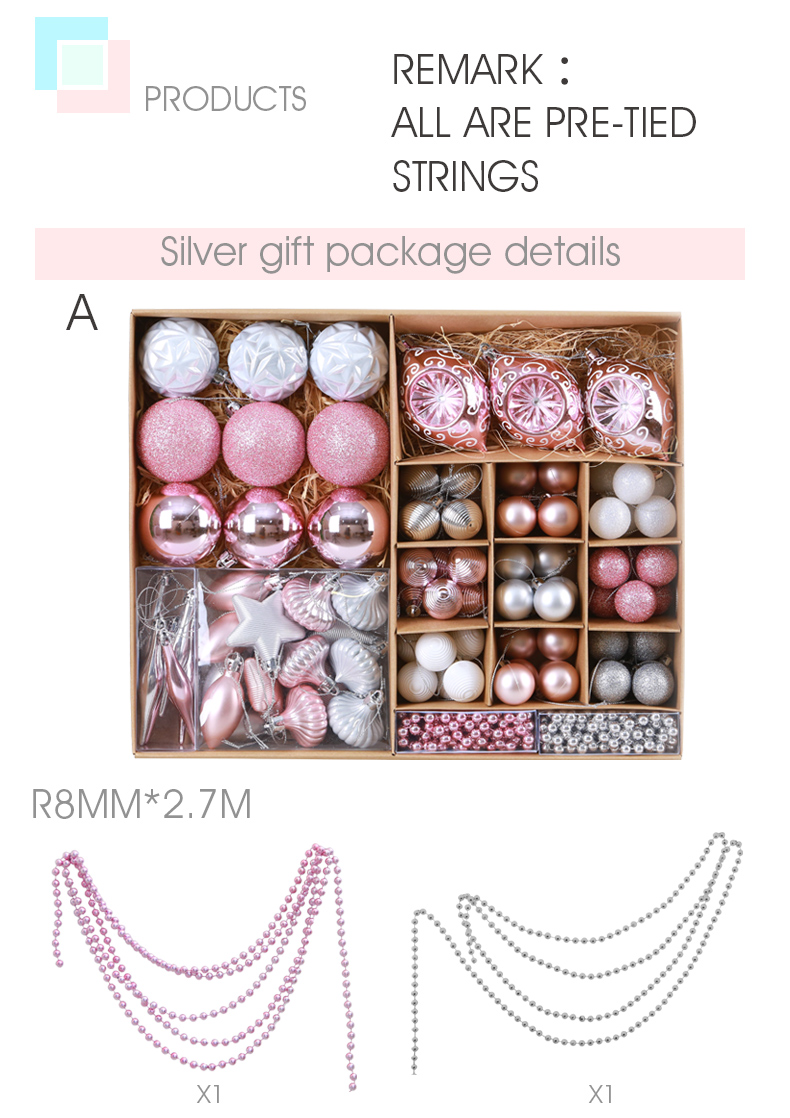03 inhoo Pink Christmas Tree Ornaments Christmas Balls Decoration Baubles Plastic Hanging Ball Craft Supplies Xmas Gifts 2019 NEW