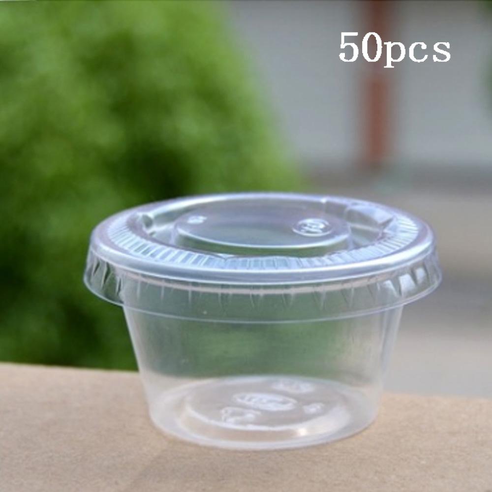 10 Jetable Clair Plastique sauce Coupes de chutney Récipient Boîte de rangement