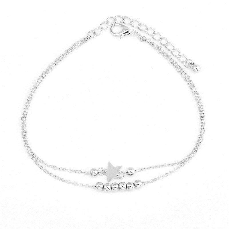 / Set Boho Multilayer Star Ananas Beads Chaîne Pendentif Cheville Femmes Creative Cristal Chaîne Chaîne Set De Mode Bijoux Cadeau