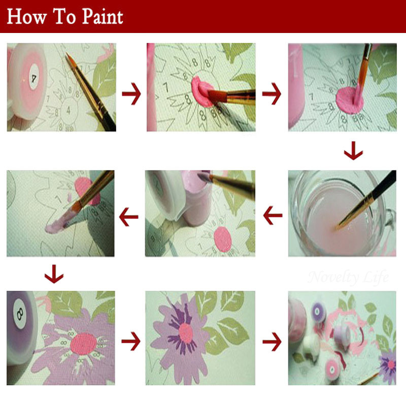 Frame 3 pcs Pictures Diy Painting By Numbers DIY Handmade Digital Oil Paint Cherry Blossoms Trees Home Decoration Sakura Flowers Y18102209
