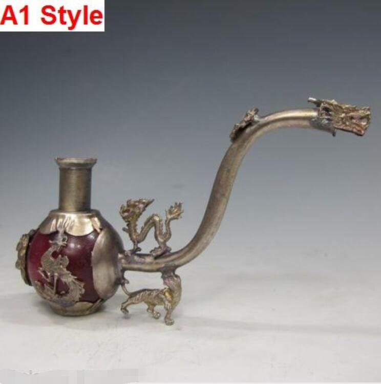 """11/"""" Nice Chinese Dragon /& Phoenix Copper Pipe With Box"""