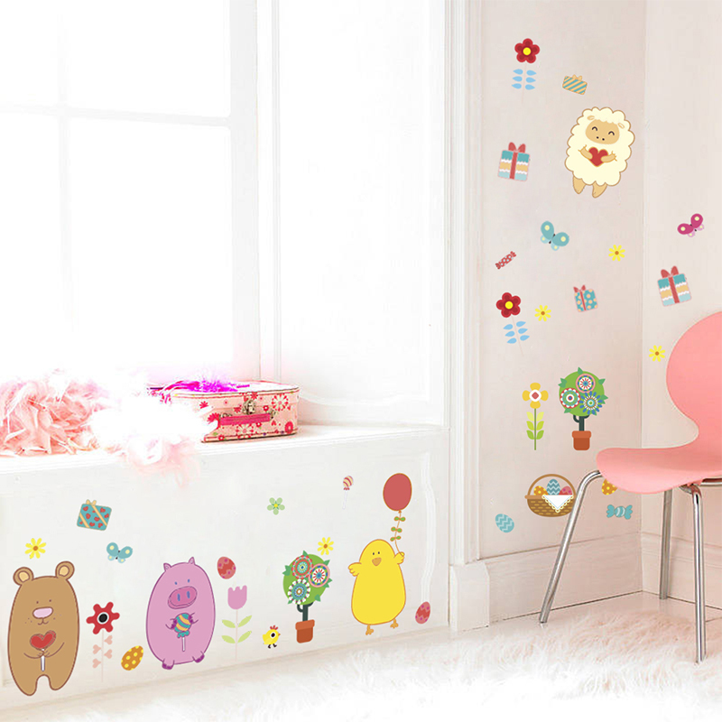 Lovely Sheep Bear Chicken Flowers Wall Stickers Bedroom Home Decorations Cartoon Animals Wall Decals DIY Mural Art PVC Posterhaif
