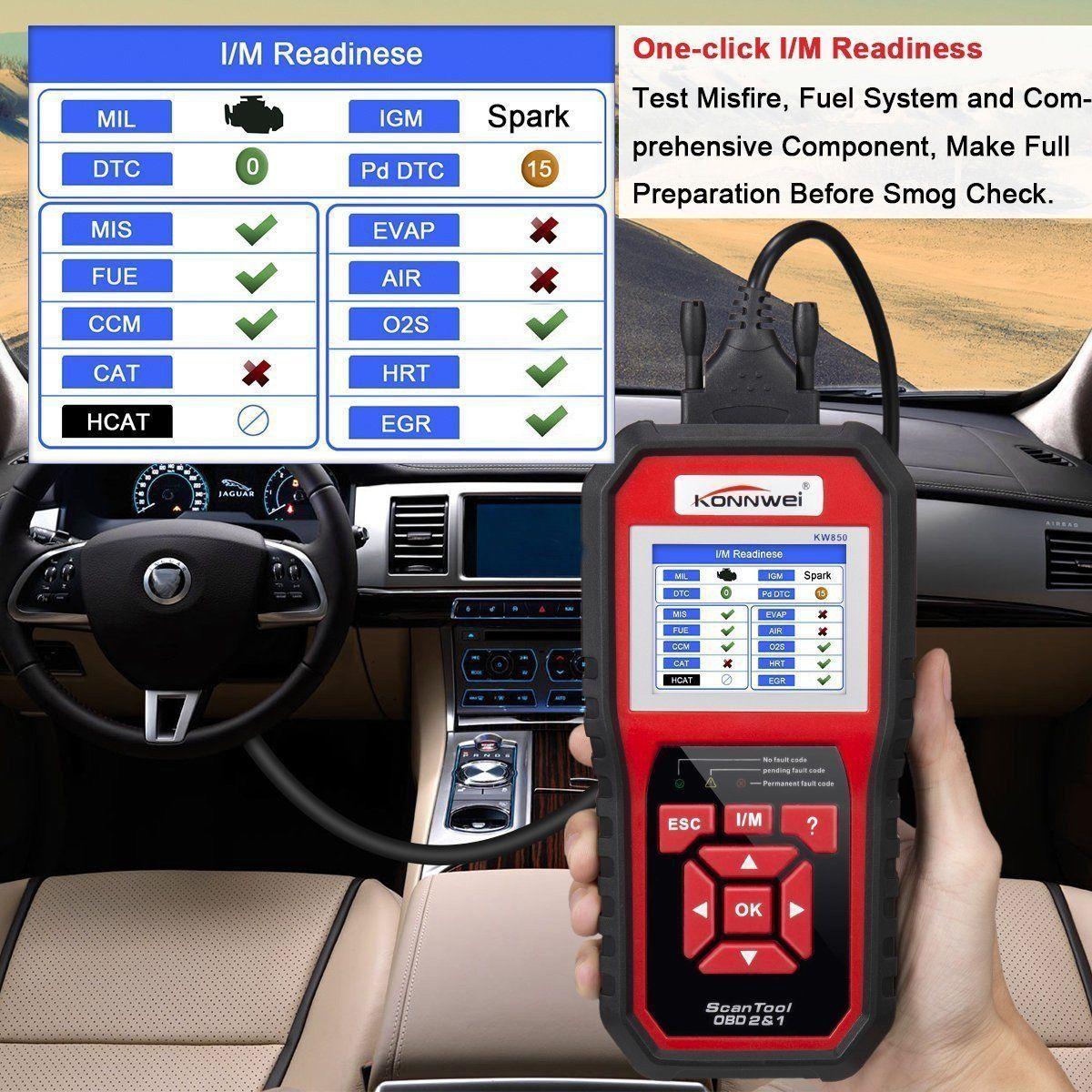KONNWEI KW850 OBDII OBD2 EOBD Car Auto Codes Reader Scanner Diagnostico Strumento 12 V Con scatola Al Minuto UPS DHL LIBERA il Trasporto