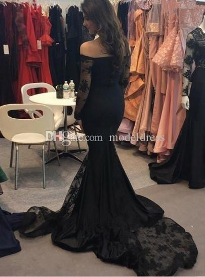 Modest Black Full Lace Mermaid Prom Dresses 2018 Off Shoulder Trumpet Court Train Girls Arabic Formal Red Carpet Dress Evening Party Gowns
