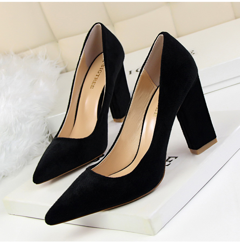 Women\`s Pumps Shoe Slip-On Wedding Women Shoes High Heels Sandals Silver Office Lady Shoes Woman High Heel Mules Square Heels (6)