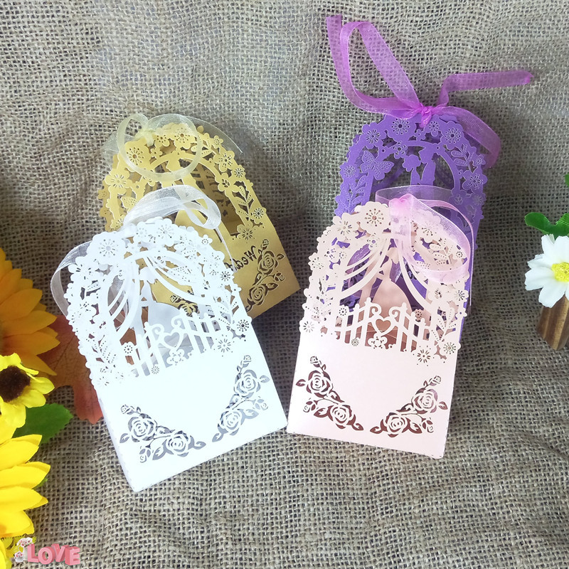Groom and Bride Design Wedding Candy Box Gift Box KWAYE Ribbon Party Decoration Christmas Cookie Candy Box 6ZT19
