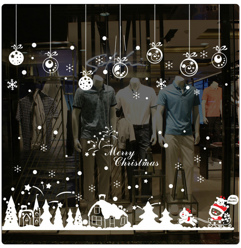 2019 New Year Merry Christmas Decorations for Home Snowflake Hut Wall Sticker Shop Window Glass Decoration Removable PVC Sticker (5)