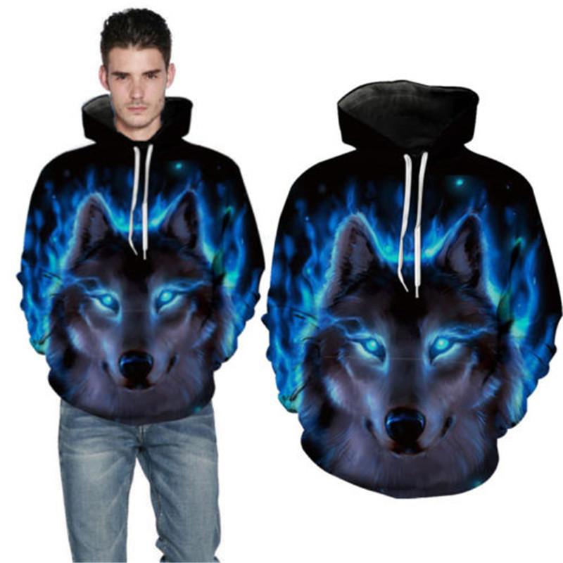 Marke Kleidung Männer Kapuzen 3D Wolf Hoodies Männer 3D Sweatshirts Hohe Qualität Pullover Neuheit Männlich Schlank Mit Kapuze Tops Mantel S18101705