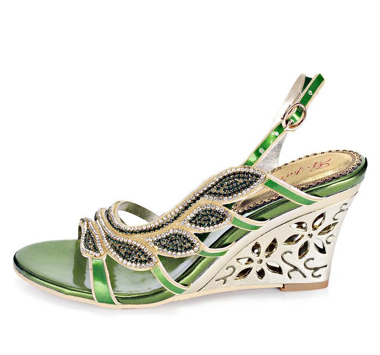 2016 Summer New Luxury Diamond Shoes Women 8cm High Heels Sexy Wedge Sandals Big Size 1112