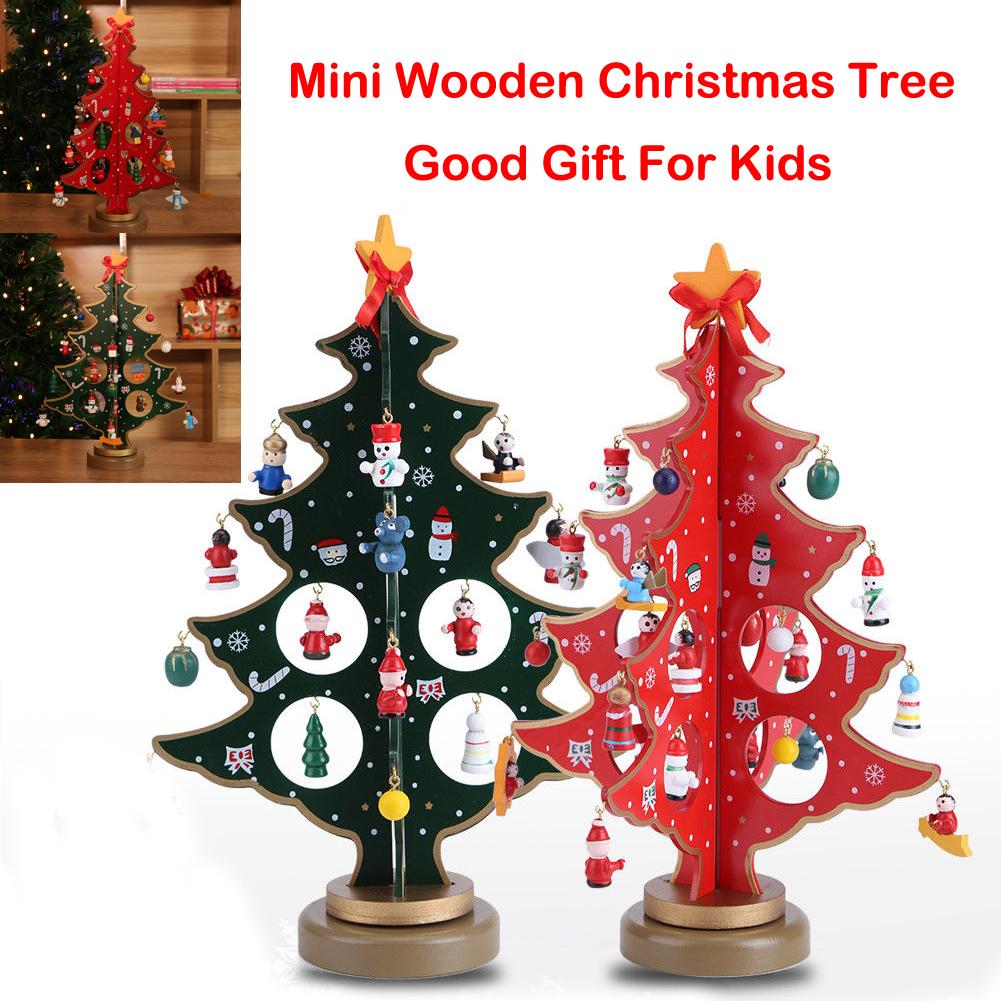 Christmas Ornaments Wooden Mini Christmas Tree Desktop Decoration Arts Crafts Kids Gift Home Party Wedding Decor 30CM Green