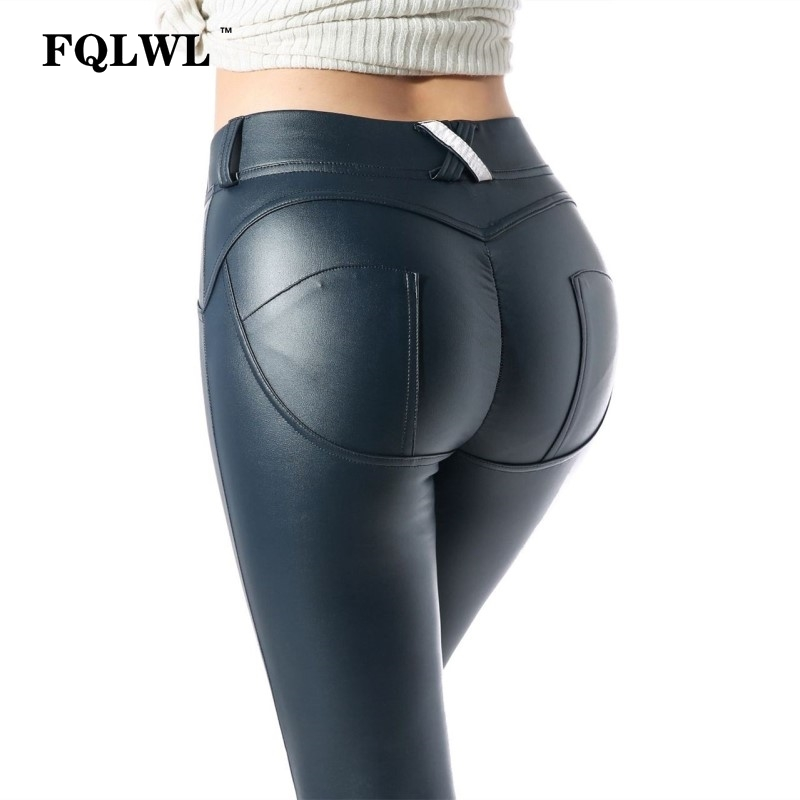 FQLWL Plus Sizes PU Leather Pants Mujeres Cintura Elástica Hip Push Up Negro Sexy Leggings Femeninos Jegging Casual Skinny Pencil PantsY1882501