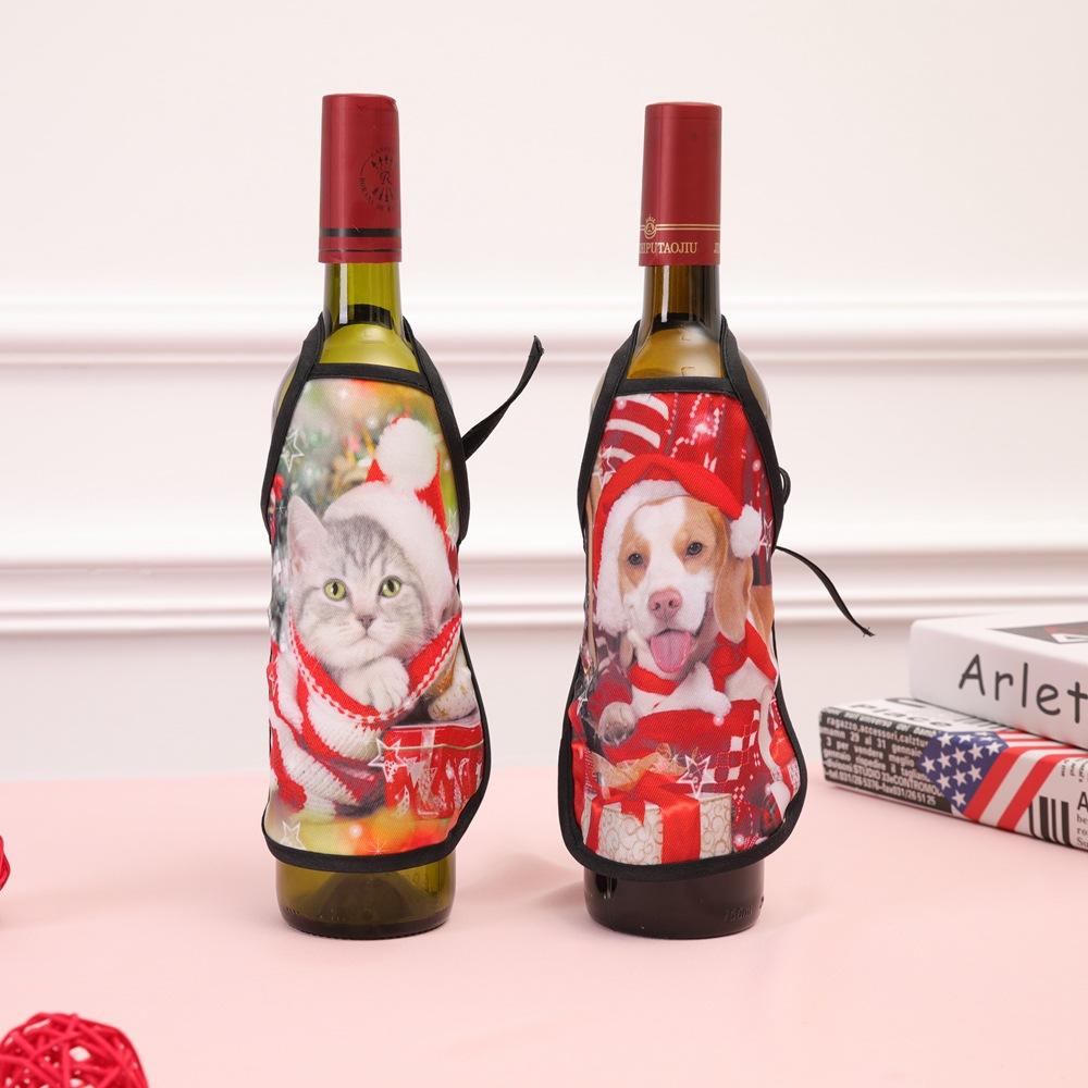 Рождественское украшение держатель бутылки вина Санта-Клаус мультфильм домашнее животное бар обеденный стол красное вино мини фартук партия декоры подарок JLE109