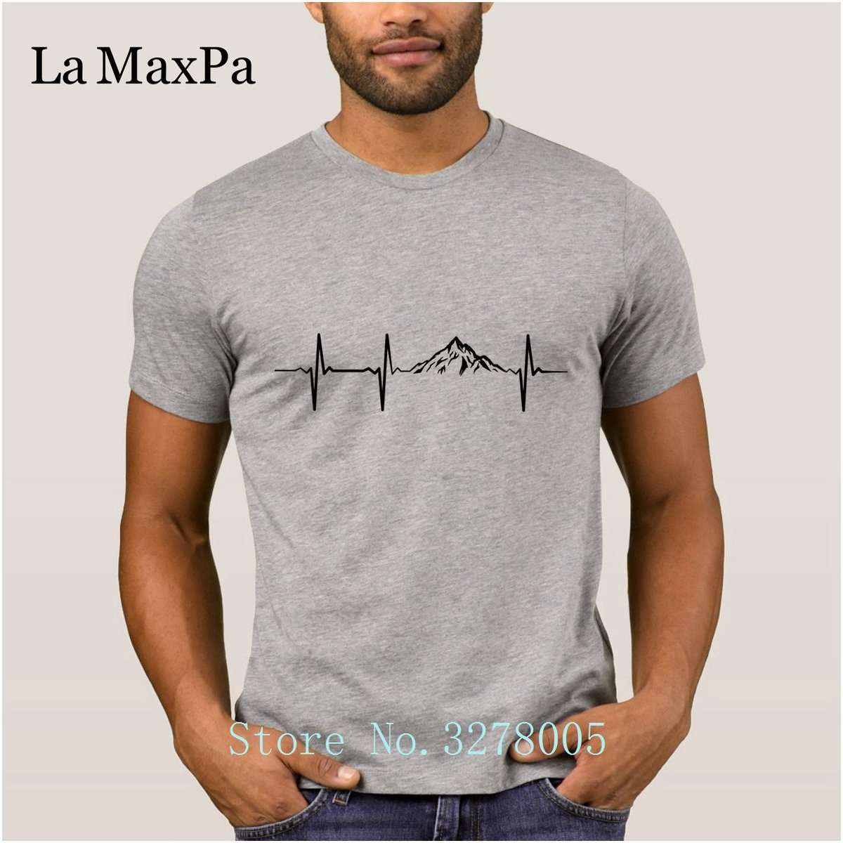 Mountain Heartbeat T Shirts Cool Graphic Regular T-Shirt For Men Spring Cotton Simple Male Tee Shirt Tee Tops