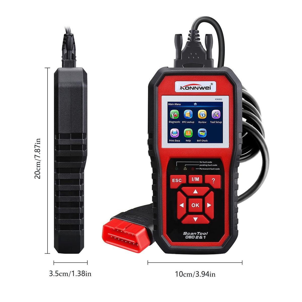 KONNWEI KW850 OBDII OBD2 EOBD Car Auto Códigos Leitor Ferramenta de Diagnóstico Scanner 12 V Com caixa de Varejo UPS DHL Frete Grátis