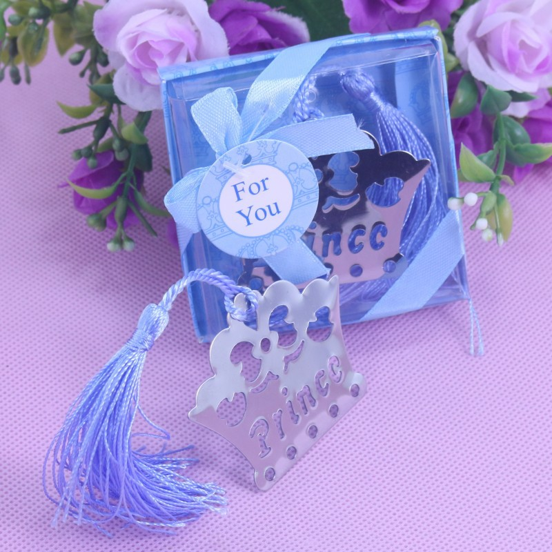 50 Stücke Home Party Geschenk Favor Prince Crown Silber Lesezeichen Baby Shower Hochzeit Geschenke für Gäste Geburtstag Graduierung Werbegeschenk