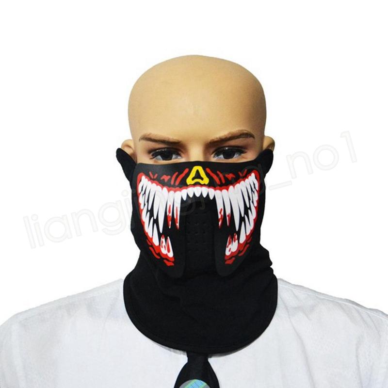 Máscara activada por sonido Máscara luminosa LED Mascarada Terror Terror Máscara de luz fría Fiesta de Halloween Fiesta de disfraces Jugar Prop Juguete LED GGA1058