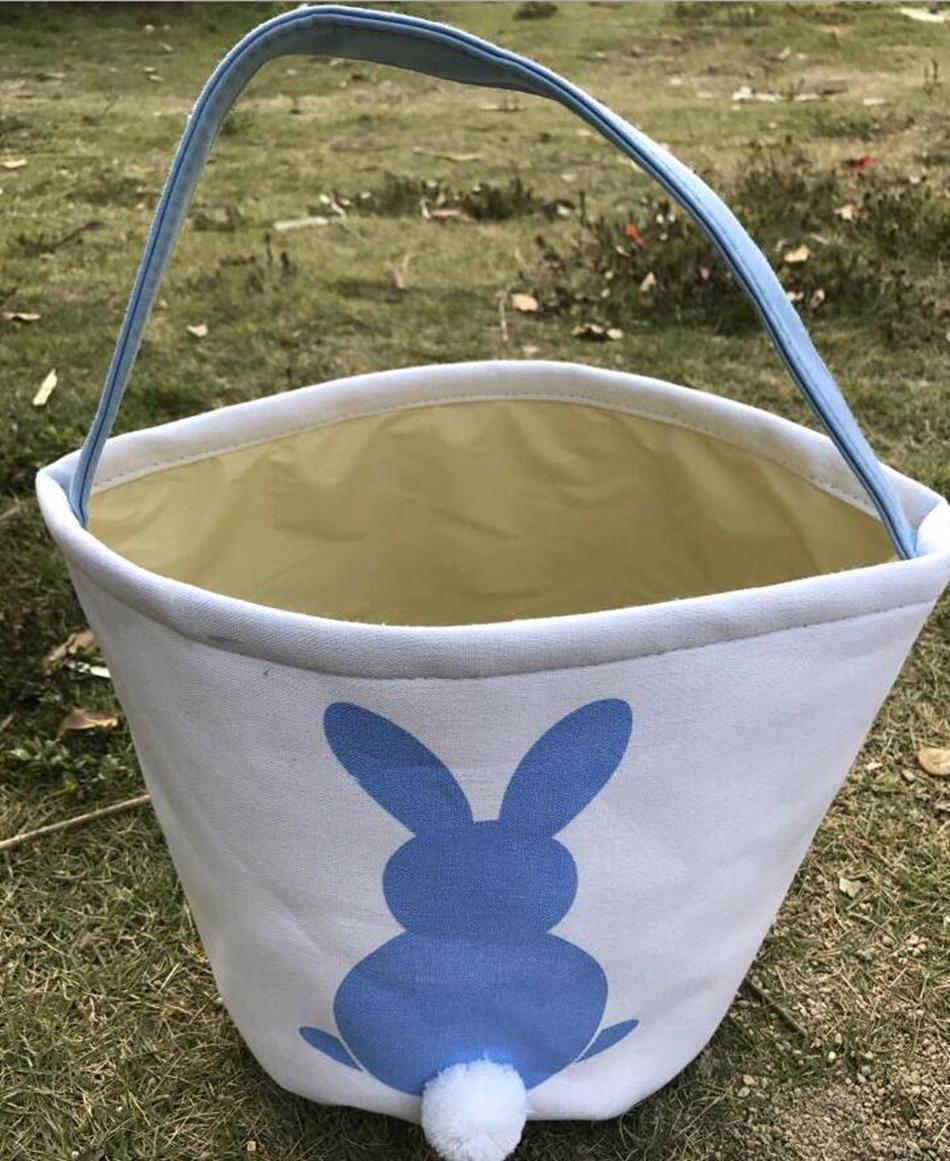 Easter Rabbit Basket Easter Bunny Bags Rabbit Printed Canvas Tote Bag Egg Candies Baskets OOA3960