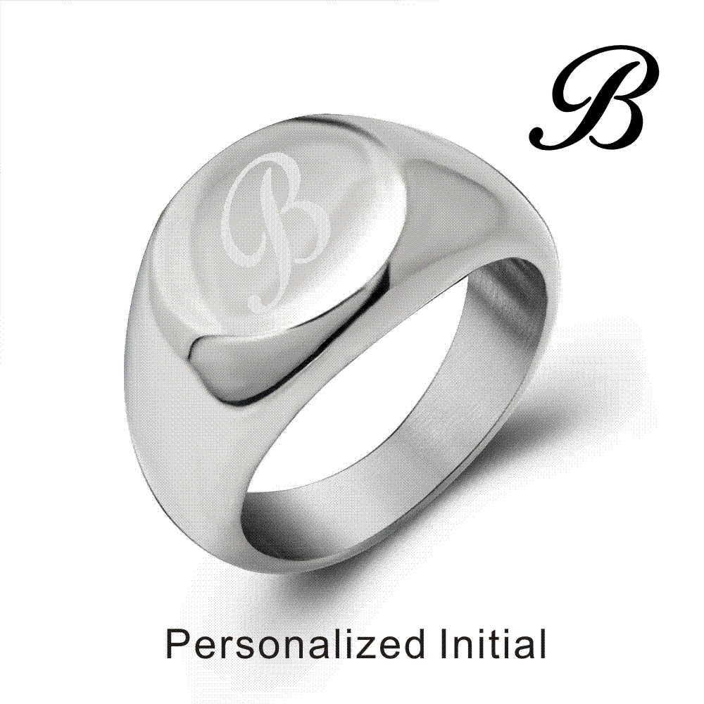 Personalized 925 Sterling Silver High Polished Oval Monogrammed Signet Ring 2020