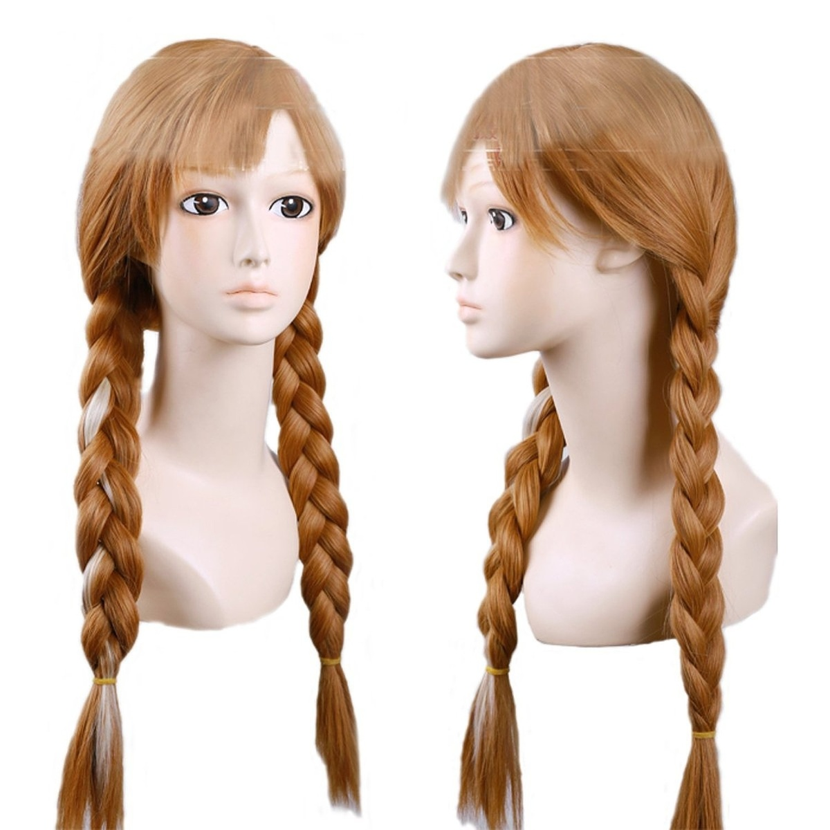 Women Pink Highlights Braids Lolita Party Cosplay Hair Wig Long Brown