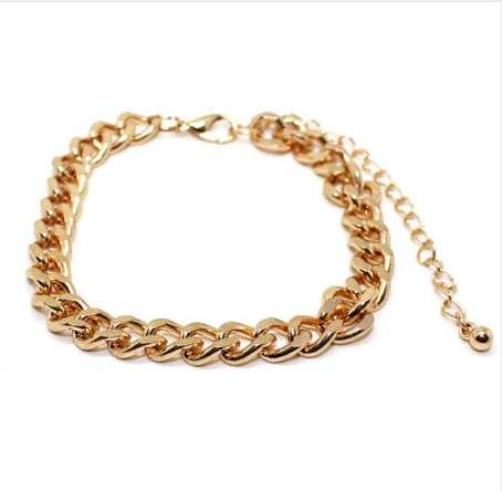 Fashion Gold Color Cuban Link Bracelet Curb Chain Bracelet Men Women Hippie Hip hop Jewelry