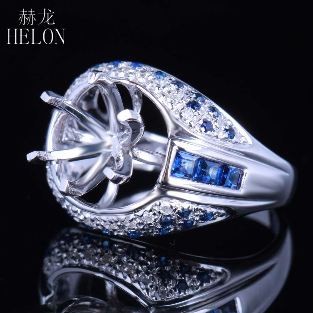 HELON 10,5-11,5mm Rundschnitt Halb Mount Solide 14 Karat Weißgold Echte Natürliche Diamant Saphire Edelstein Engagement Ehering