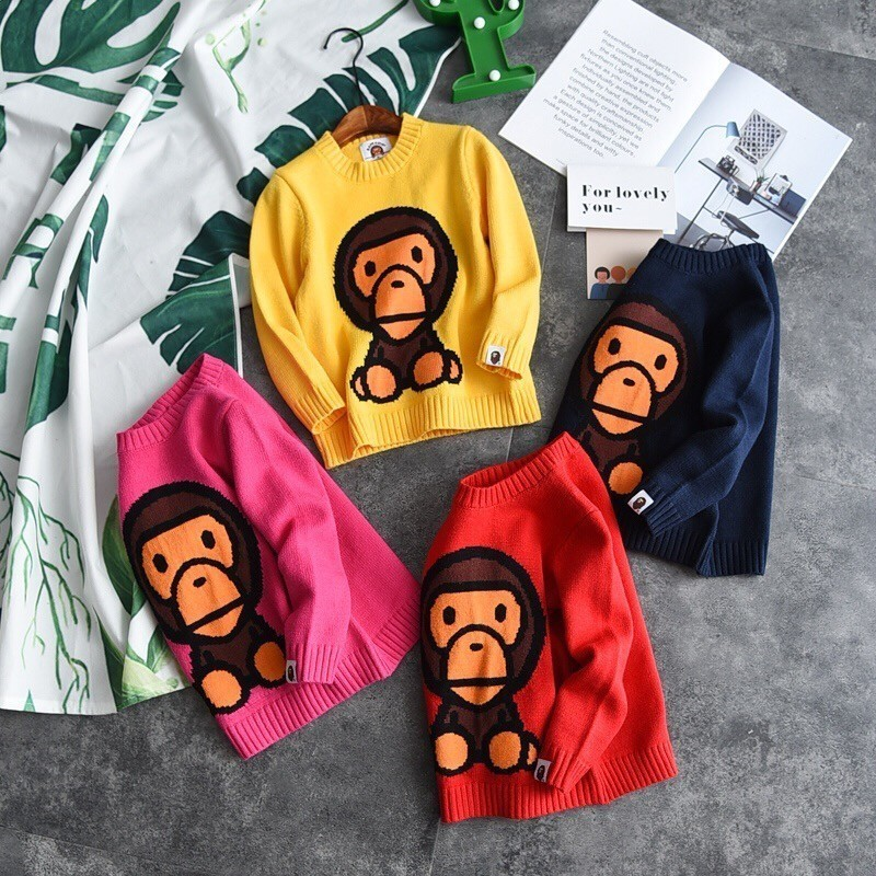 2018 New Children Small Monkey Jacquard Children S Sweater Super