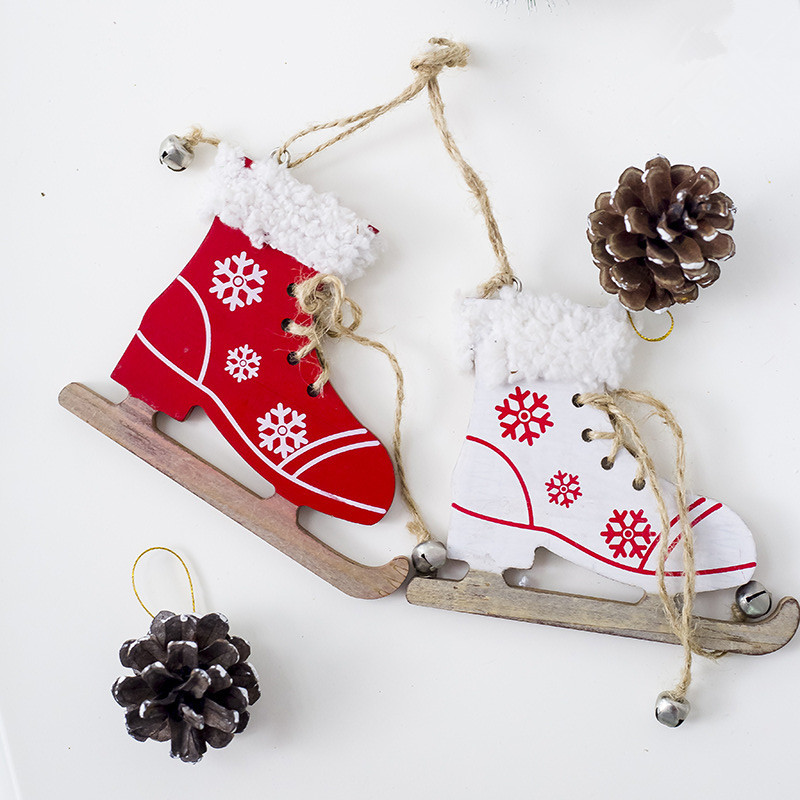 Cute Christmas Decorative Ornament Snowflake Pattern Skating Shoes Wooden Craft Christmas Tree Decoration for Home Xmas New Year Y18102609