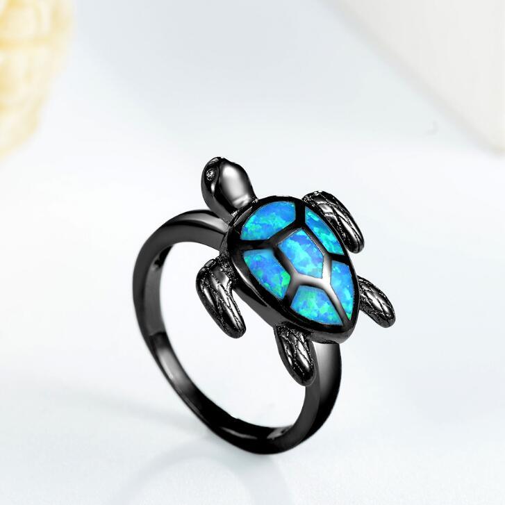 Fashion Ocean Blue imitation opale Tortue Or Noir Anneau Hommes Femme Mariage Bande